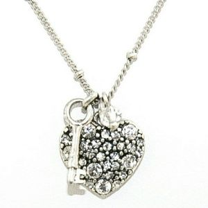 Fossil Necklace with Key and Pave Heart